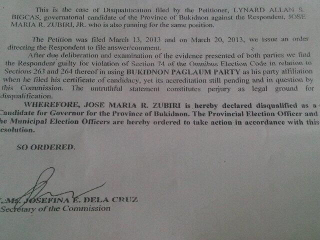 comelec resolution bigcas zubiri