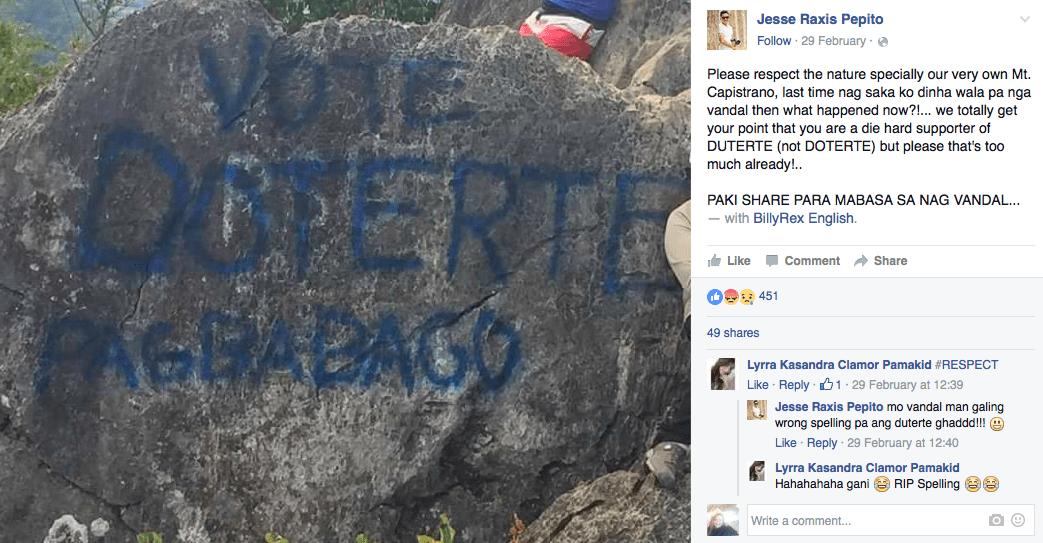 duterte vandalize mt. capistrano malaybalay
