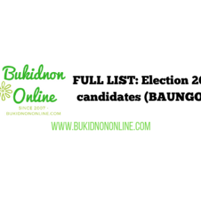List of election 2019 candidates: BAUNGON BUKIDNON