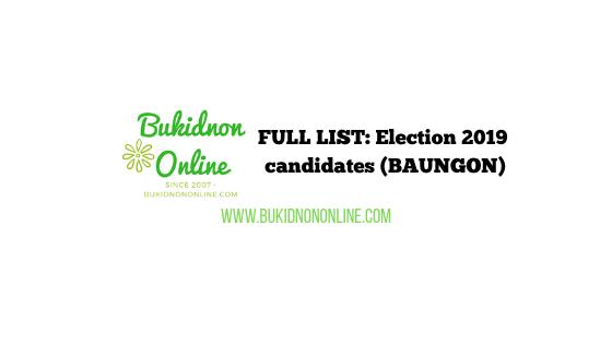 baungon bukidnon candidates 2019 election