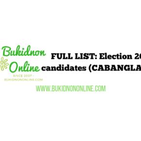 List of election 2019 candidates: CABANGLASAN BUKIDNON