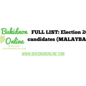 List of election 2019 candidates: MALAYBALAY CITY