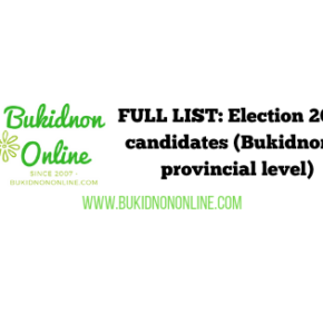 Official list of candidates 2019 elections: Bukidnon provincial level