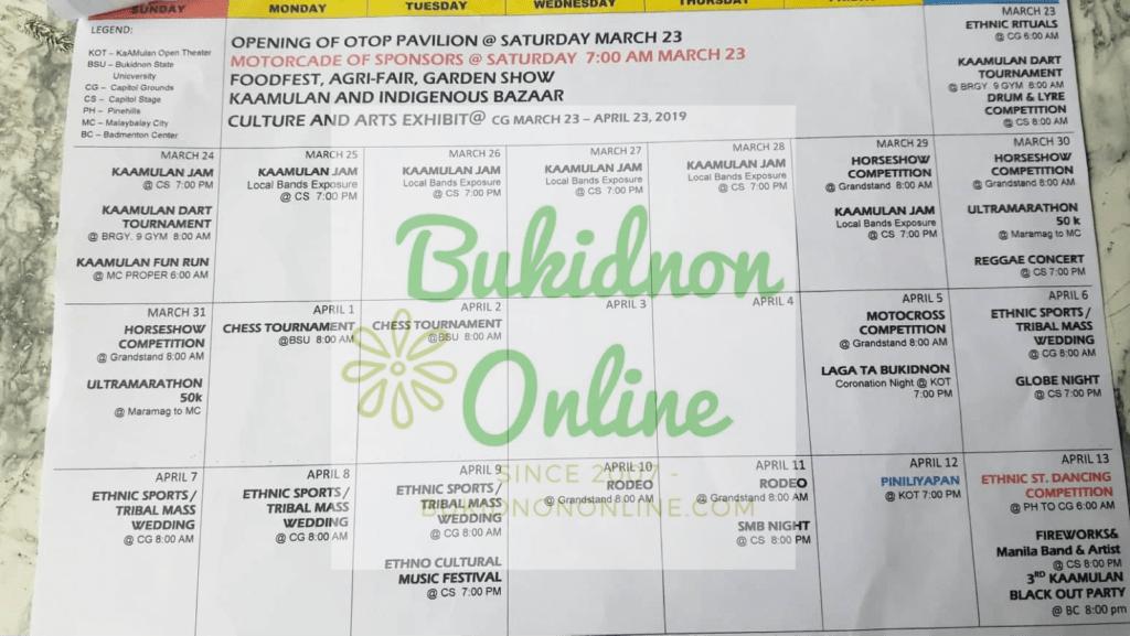 kaamulan festival 2019 schedule