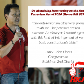 Why Bukidnon solon Flores abstained from voting on Anti-Terrorism Bill