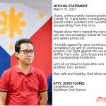 Bukidnon solon Flores contracts COVID-19